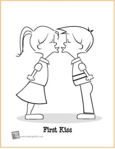 first-kiss-coloring-page